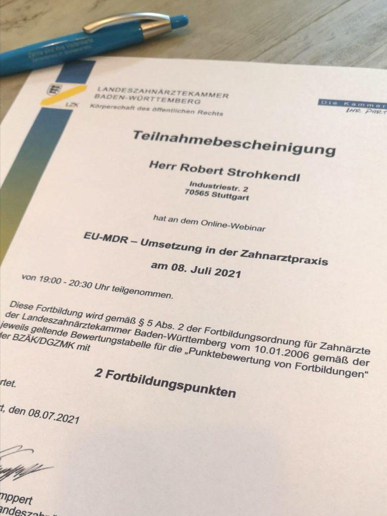 EU-MDR Zahnarzt Strohkendl Stuttgart